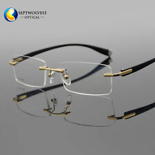 Designer Men's Rimless Flexible Myopia Eyeglasses Frames Optical Eyewear RX Able