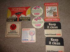 Beer mats drip mats coaster VODKA ROMANOFF COSSACK VOSTOK STOLICHNAYA job lot