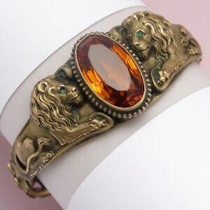 Antique Victorian Edwardian DOUBLE Lion Amber Glass Paste Bangle Bracelet
