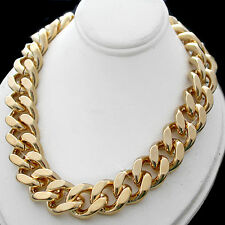 """15mm JUMBO CURB Link 312g HEAVY GOLD Layered 30"""" Necklace + LIFETIME GUARANTEE"""
