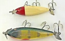 "Injured Minnows Lures 2 Creek Chub 3.75"" Red White Green Perch Glass & Tack Eyes"