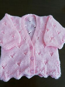 HANDMADE KNITTED BABY CARDIGAN, PINK LACY, 0-3 MONTHS, 18 INCHES, soft DK wool