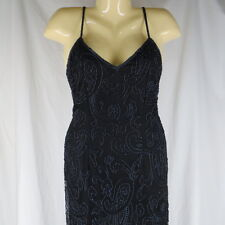 Laurence Kazar Med AS IS Black Silk Beaded Full Length Formal Dress Gown Trophy