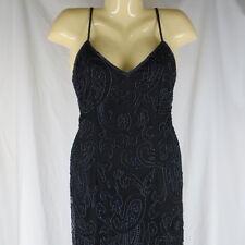Laurence Kazar Med AS IS Black Silk Beaded Full Length Formal Dress Gown Trophy