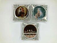 3 Vintage Artmark Decorative Square Plates Jesus Mary Last Supper Religious Gold
