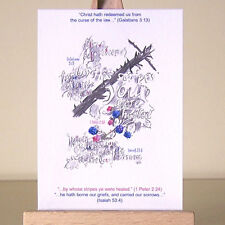 Christian Art Healing Scriptures Shape of the Cross and Bible Verses ACEO card