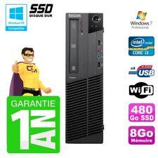 PC Lenovo M91p SFF Intel I3-2120 8Go Disque 480Go SSD Graveur Wifi W7