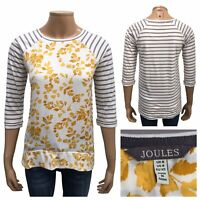 JOULES Polly Stripe Print Jersey Top Yellow Flower Leaf Front Size 8 UK