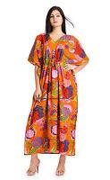 Floral Long Dashiki Kaftan Caftan Maxi House Dress Outfit Gown Orange Plus Size