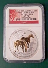 2014 Australia Horse 1 oz 999 Silver coin Gilt Gilded NGC MS 70 - Early Releases