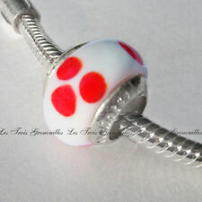 Lovelinks Bead Sterling Silver, Murano Glass White With Red Flower Charm L32