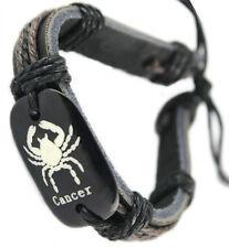 D1221 Cancer surfer adjustable black leather bracelet with hemp chain hot