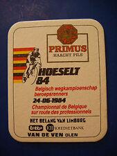 Vintage Beer Bar Coaster ~*~ PRIMUS Brouwer Haacht Pils ~ Belgium 1984 Bike Race