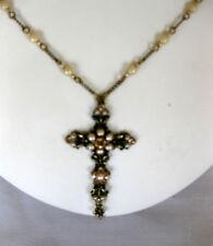 Michal Negrin Swarovski Crystal & Pearl Victorian Brass  Cross