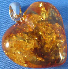 "Honey Baltic Amber Heart Pendant .925 Sterling Silver Bale 1-1/8"" Wide"