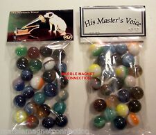 2 BAGS OF RCA PHONOGRAPH HIS MASTERS VOICE ADVERTISING PROMO MARBLES