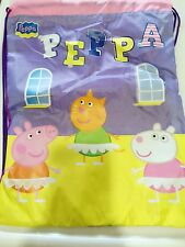 Peppa Pig Kids Girl Boy Nylon Waterproof Swim Library Spor light Draw string Bag