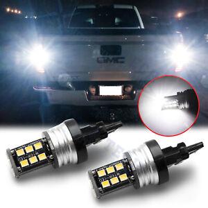 For GMC Sierra 1500 2500 3500 HD Super White 3157 LED Backup Reverse Light Bulbs
