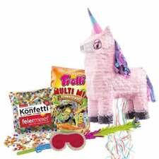 Piñata-SET Einhorn mit Ziehbändchen Schläger, Maske, Konfetti & Trolli-Füllung
