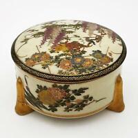 19th Century MEIJI PERIOD JAPANESE SATSUMA POTTERY TRINKET BOX 11cm x 6cm