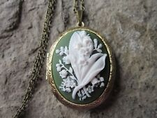 LILY OF THE VALLEY CAMEO LOCKET - ANTIQUE BRONZE, WHITE ON GREEN, QUALITY