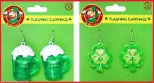 2 pairs ST PATRICK Flashing Costume EARRINGS Irish Luck 1pr MUGS 1pr SHAMROCKS
