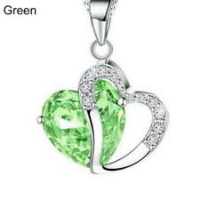 Plata y Cristal Gruesa Collar de Corazón en Verde ** Vendedor Reino Unido ** regalo de bodas