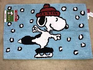 """NEW--PEANUTS Snoopy Ice Skating - Bath Rug - Blue 30""""x20"""" 1303A"""