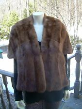 VINTAGE EMBA PASTEL NATURAL BROWN MINK SHRUG STOLE~SZ SMALL~LINED~EUC