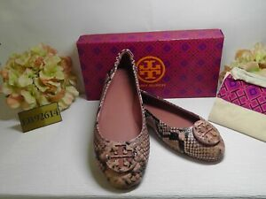 TORY BURCH Snake Embossed BLUSH Leather Minnie Travel Ballet Flats Size 9.5