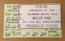 1983 MOTLEY CRUE SHOUT AT THE DEVIL TOUR DENVER CONCERT TICKET STUB NIKKI SIXX