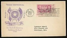 1936 Texas Centennial  3rd Int'l Philatelic Exposition Cancel FDC