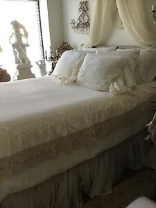 Shabby Chic Crochet Dust Ruffle Full Size Ecru/Beige Bed Skirt, 100% Cotton