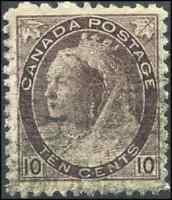 Canada #83 used F-VF 1898 Queen Victoria 10c brown violet Numeral Issue CV$30.00