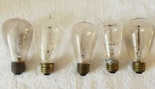 Working Lot of 5 Antique Filament Tipped Early Edison Carbon Balloon Light Bulbs
