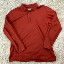 Tommy Bahama Men's XL Orange Striped Long Sleeve Polo Shirt