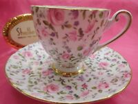 "Shelley  BRIAR ROSE CHINTZ  "" RIPON SHAPE ""   CUP AND  SAUCER  #14263 GOLD TRIM"