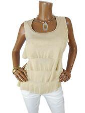 CHICO'S Womens Top Sz 2 L NWT Gold Metallic Tank SEXY Sleeveless Shirt Layers