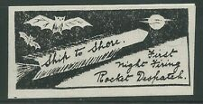 1934 INDIA rocket stamp SAUGOR ISLAND, Night Firing, Bats - Stephen H. Smith 5A1