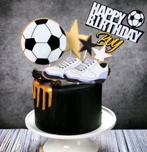 6pcs Happy Birthday football cake topper soccer player goal cupcake toppers