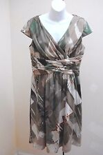 Coldwater Creek P10 Dress Brown Green Abstract Pleated Empire Cap Sleeves Petite