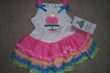 GIRLS 6 MONTH-RARE EDITIONS WHITE TANK DRESS W/ PINK, YELLOW BLUE POLKA DOTS-NWT