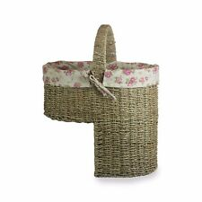 Natural Seagrass Stair Basket Cottage Rose Lining Hallway Storage Staircase Step