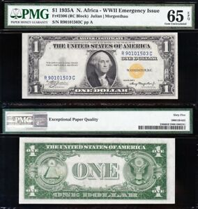 Amazing GEM UNCIRCULATED 1935 A $1 N. AFRICA Silver Cert.! PMG 65 EPQ! FREE SHIP