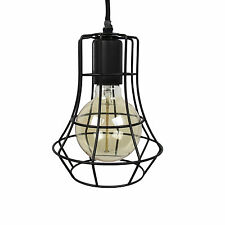NEW Modern Cafe Industrial Warehouse Retro Black Iron Cage Hanging Pendant Light