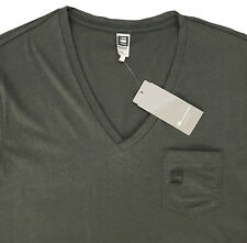 Men's G-STAR / G RAW Olive Gray Logo V-Neck T-Shirt Tee Shirt XXL 2XL NWT NEW