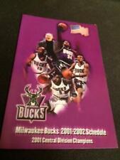 2001-02 Milwaukee Bucks Basketball Pocket Schedule Team Version