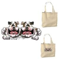 Bulldog Dog Buddies Pair Cartoon Artist Canvas Market Grocery Tote Bag