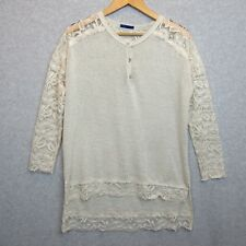 Sweet Claire Womens Size Small Knit Lace Sweater Ivory Top Sheer Arms Shoulders