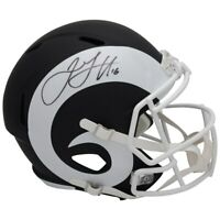 JARED GOFF Autographed Los Angeles Rams Black Matte Speed Helmet FANATICS